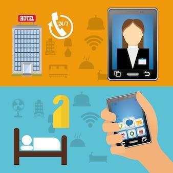 Réceptionniste smartphone et hôtel avec design d'applications numériques