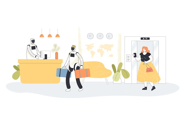 Réceptionnistes robotisés rencontrant un invité à l'hôtel
