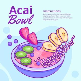 Recette de bol d'açai avec différents fruits délicieux
