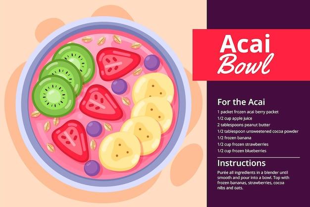 Recette de bol d'açai avec différents fruits