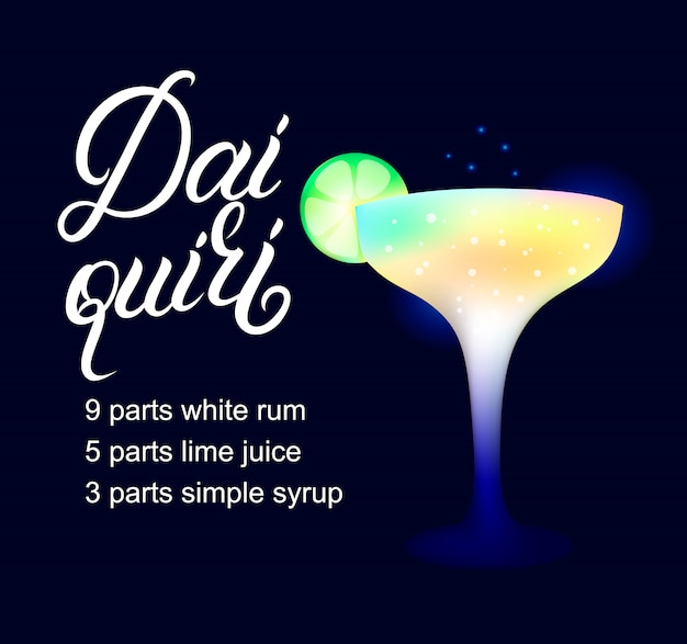Recette de cocktail d'alcool daiquiri.