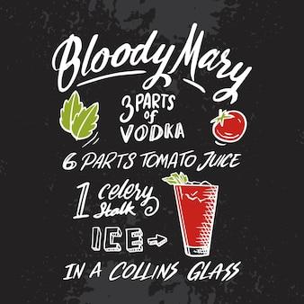 Recette de cocktail alcoolisé bloddy mary sur tableau noir
