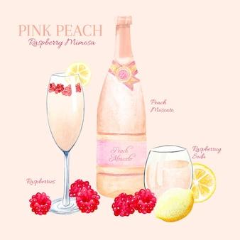 Recette de cocktail pêche rose et mimosa framboise