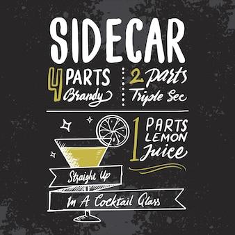 Recette de cocktails alcoolisés sidecar sur tableau noir