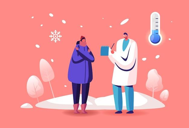 Recette d'écriture de personnage de médecin à une patiente malade avec des symptômes d'allergie au froid ou de grippe donnant des médicaments pour le traitement