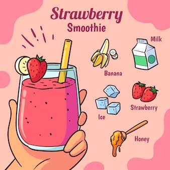 Recette estivale de smoothie aux fraises