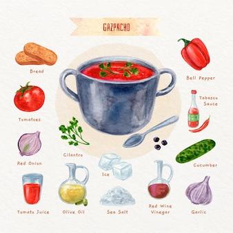 Recette de gaspacho végétarien à l'aquarelle