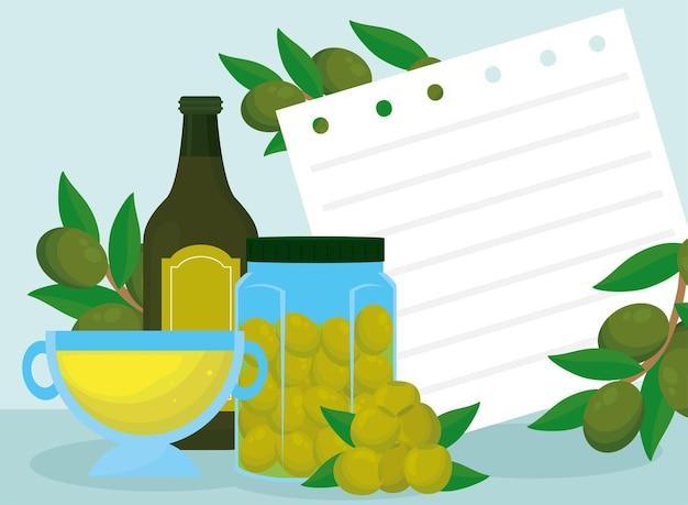 Recette avec de l'huile d'olive et des ingrédients