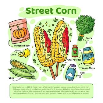 Recette de maïs de rue végétarienne dessinée à la main