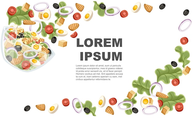 Recette de salade de légumes. la salade césar tombe dans un bol transparent. nourriture de conception de dessin animé de légumes frais. illustration plate sur fond blanc.