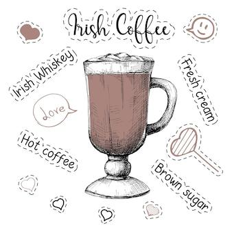 Recette simple pour un cocktail alcoolisé irish coffee. illustration vectorielle d'un style de croquis.