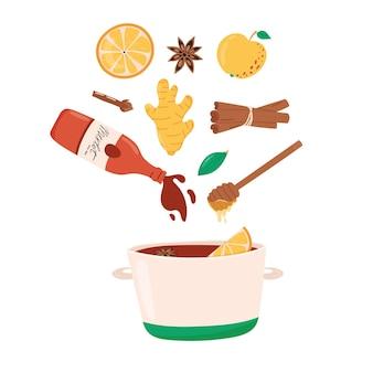 Recette de vin chaud ou chaud avec marmite et ingrédients