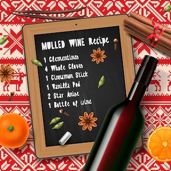Recette de vin chaud avec liste d'ingrédients et bouteille de vin
