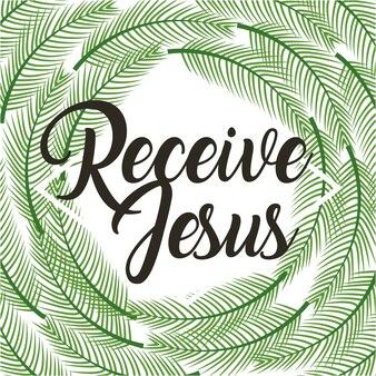 Recevoir jesus affiche religieuses branches paume cadre
