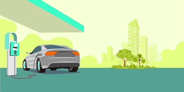 Recharge de voiture électrique à la station de recharge