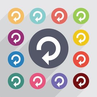 Recharger, jeu d'icônes plat. boutons colorés ronds. vecteur