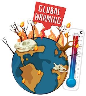 Réchauffement climatique avec déforestation sur terre