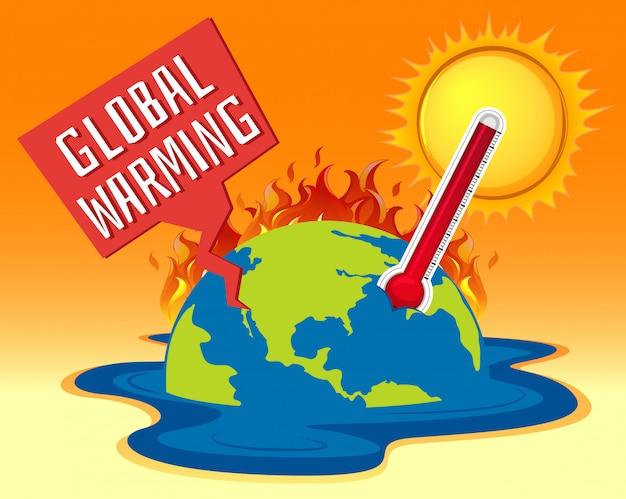 Réchauffement climatique avec de la terre en feu