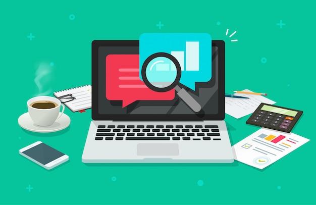 Recherche d'audit de qualité financière sur un bureau d'ordinateur portable ou recherche d'audit sur une table de travail vue de dessus dessin animé plat