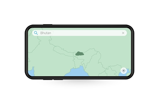 Recherche de carte du bhoutan dans l'application de carte pour smartphone. carte du bhoutan en téléphone portable.