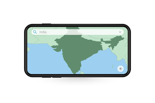 Recherche de carte de l'inde dans l'application de carte pour smartphone. carte de l'inde dans le téléphone portable.