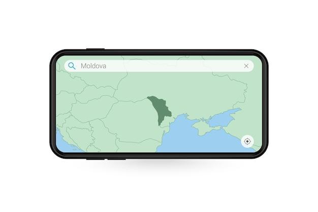 Recherche de carte de la moldavie dans l'application de carte smartphone. carte de la moldavie en téléphone portable.