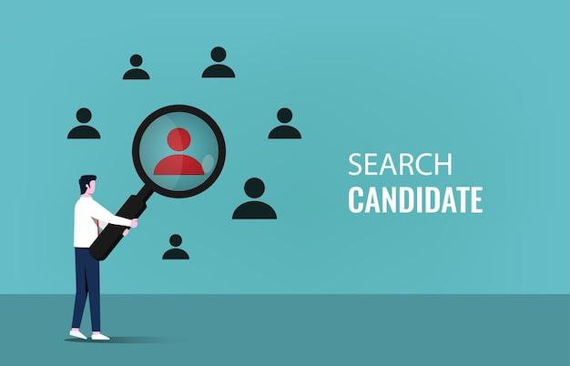 Recherche de concept de candidat avec homme d'affaires détenant l'illustration du symbole de la loupe.