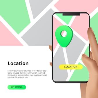Recherche de concept de partage de cartes de localisation. pour les entreprises, marché, shopping direction avec application smarthphone avec illustration de la main.
