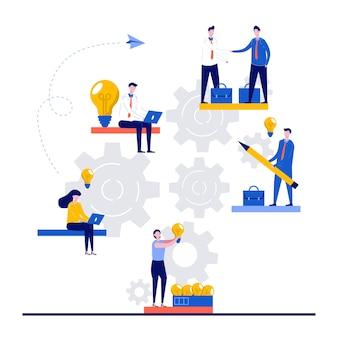 Recherche de concept de réussite avec caractère. idée de recherche, peu de réussite, réalisation de l'objectif.