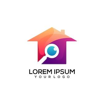 Recherche de conception de logo de maison colorée