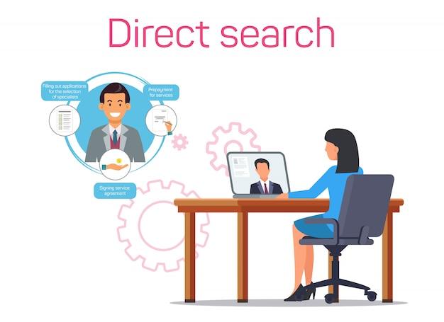Recherche directe. femme avec ordinateur portable ramasse le personnel.