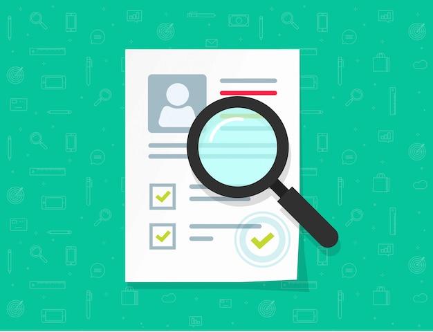 Recherche de document papier plat dessin animé avec des données personnelles et illustration vectorielle de timbre approuvé