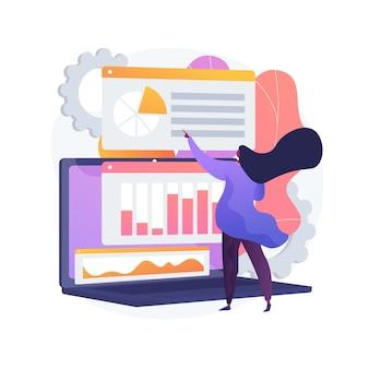 Recherche de données statistiques, indicateurs de performance des entreprises, retour sur investissement. rapport en pourcentage, fluctuation des indices, changement significatif. illustration de métaphore de concept isolé de vecteur.