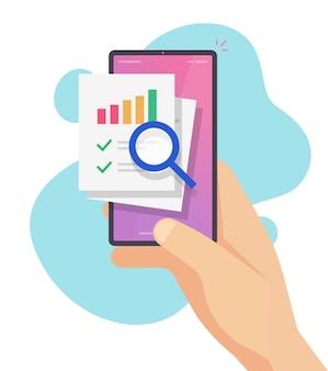 Recherche des données de vente des finances de comptabilité sur téléphone mobile