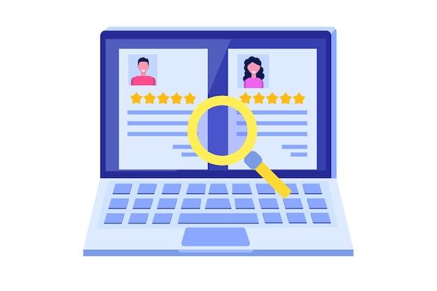 Recherche d'emploi, chasse à la tête ou recrutement, embauche d'employés, concept. plat