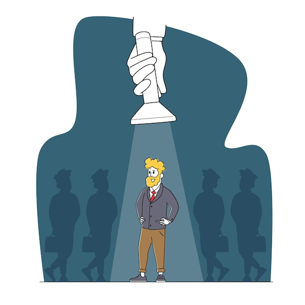 Recherche d'emploi concept de recrutement d'entreprise. stand de personnage d'homme d'affaires avec bras akimbo dans le faisceau de projecteurs se démarquer de la foule