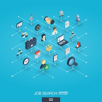 Recherche d'emploi intégrée des icônes web 3d. concept d'interaction isométrique de réseau numérique.