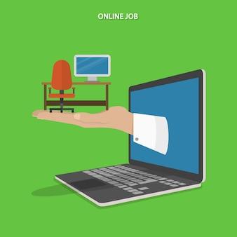 Recherche d'emploi en ligne à plat