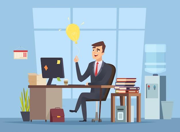 Recherche d'idées d'entreprise. le gestionnaire de bureau a un concept de démarrage d'ampoule intelligente d'esprit de style de dessin animé de caractère de travail heureux