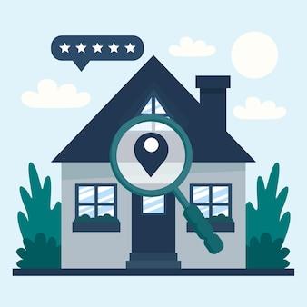 Recherche immobilière avec loupe