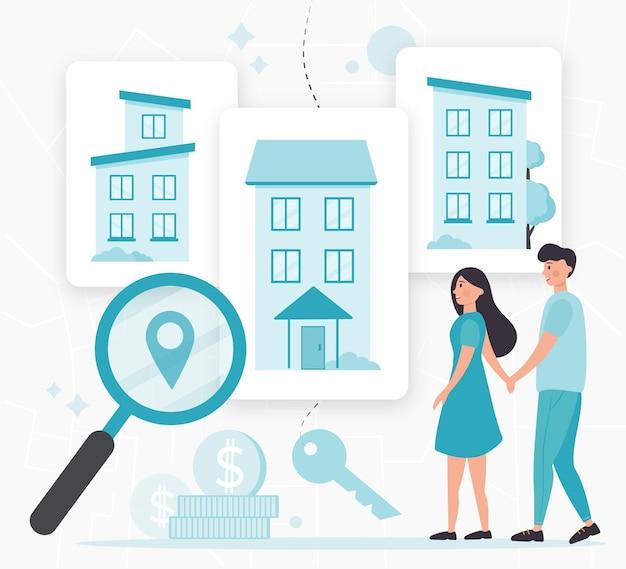 Recherche immobilière avec des personnes illustrées