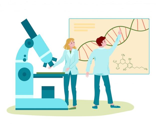 Recherche en laboratoire d'adn, scientifiques regardant un diagramme d'adn avec microscope, biotechnologie, médecine isolé sur illustration de dessin animé blanc.