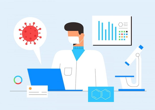 Recherche en laboratoire de chimie. concept de découverte de vaccins. scientifique, microscope et ordinateur travaillant sur le développement de traitements antiviraux. illustration en style cartoon plat
