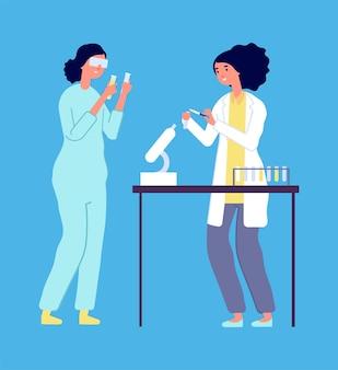 Recherche en laboratoire. épidémiologistes homme femme, étude de virus en laboratoire. scientifiques en blouse blanche avec illustration vectorielle d'équipement. science de femme avec microscope, personnel médical de chimie