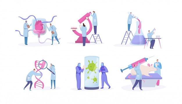 Recherche en laboratoire scientifique, concept avec des personnages de dessins animés de minuscules personnes, ensemble isolé sur blanc, illustration