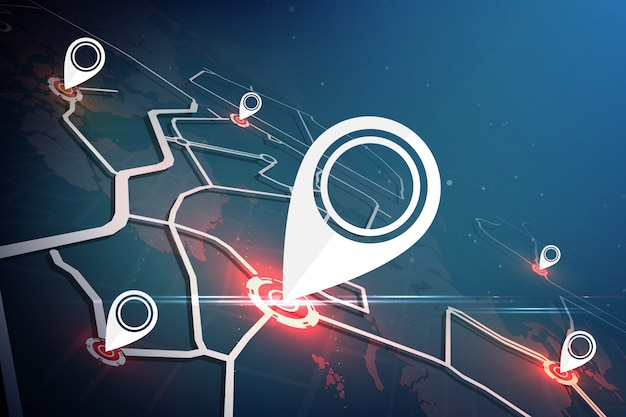 Recherche de lieu autour du monde. concept de carte de localisation