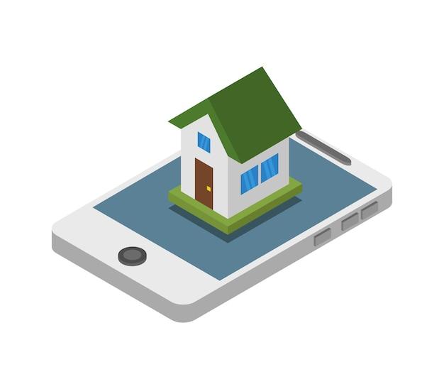 Recherche de maison sur smartphone isométrique