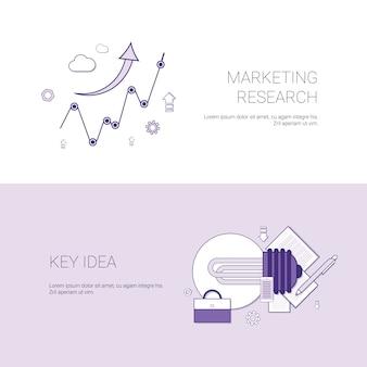 Recherche marketing et bannière web de modèles d'idées clés avec espace de copie