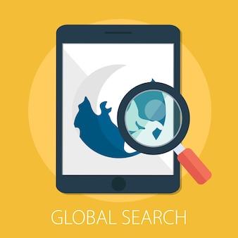 Recherche mondiale et agrandissement du monde avec mobile