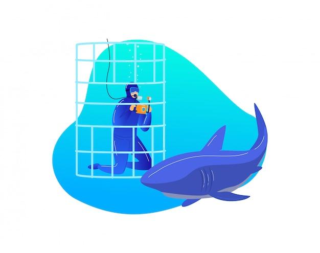 Recherche de requin sous-marin, divertissement extrême mâle plongeur photographie poisson prédateur isolé sur blanc, illustration de dessin animé.